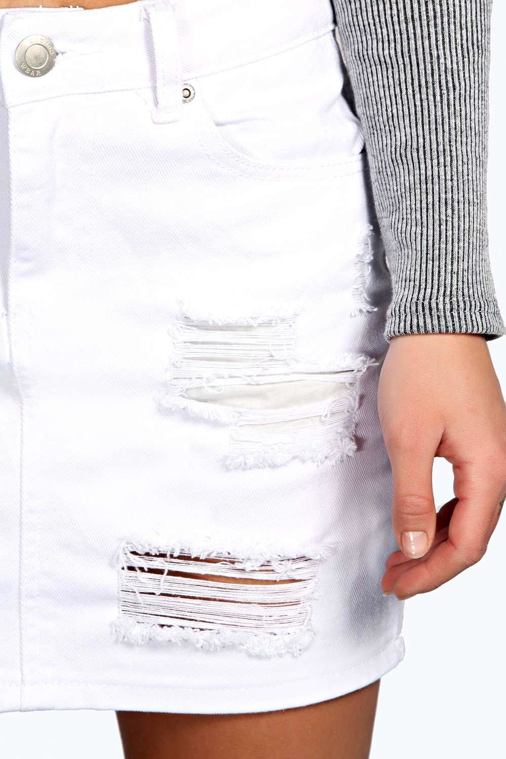 Boohoo Abbie Distressed Ripped Denim Skirt in White | Lyst