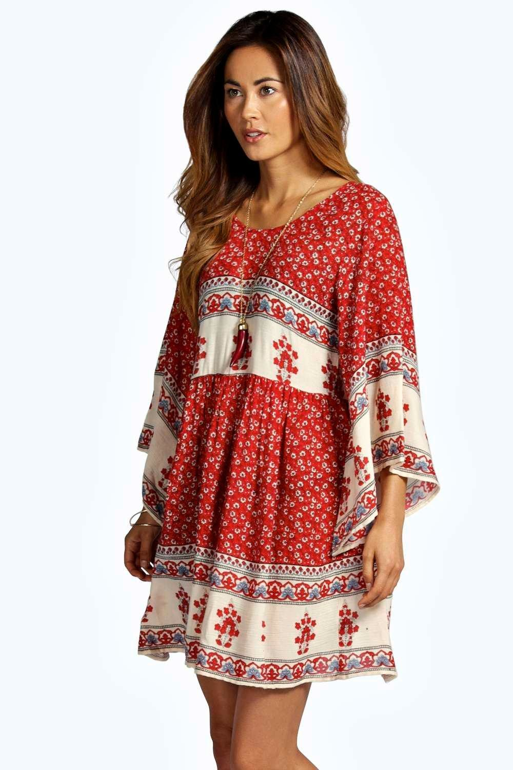 Boohoo Becca Batwing Border Smock Dress In Red Lyst