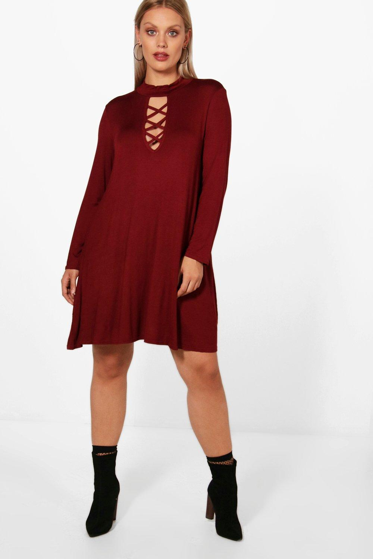 0fdbf39d2b01 Boohoo Plus Fay Tie Neck Long Sleeve Swing Dress in Red - Lyst