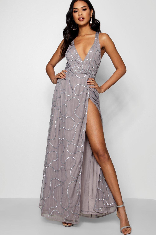 7ec29f72a6 Boohoo Tall Boutique Wrap Sequin Maxi Dress in Gray - Lyst