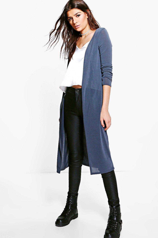 Boohoo Maisie Fine Knit Maxi Cardigan in Gray   Lyst