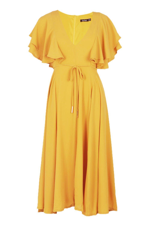 ... Ruffle Angel Sleeve Bolo Tie Midi Dress - Lyst. View fullscreen bab7bc2d5
