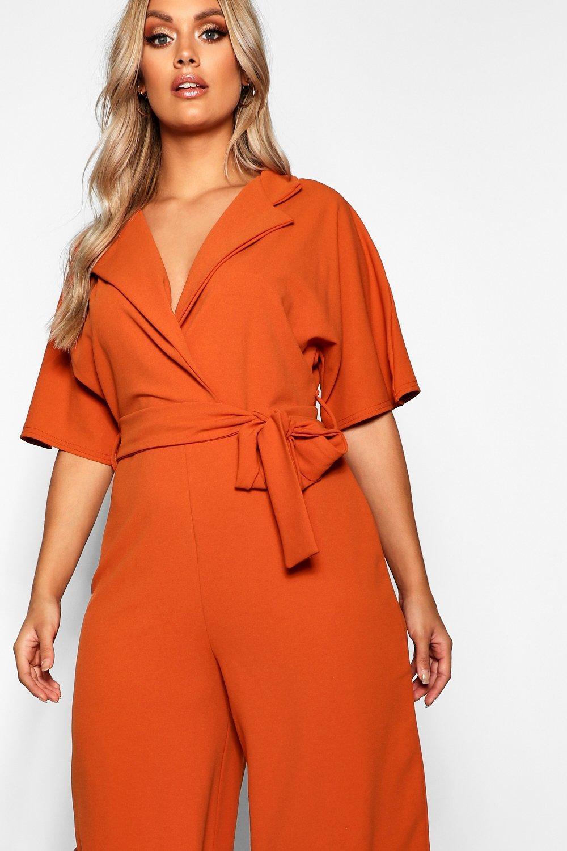 54ec75fd799 Boohoo Plus Utility Culotte Jumpsuit in Orange - Lyst