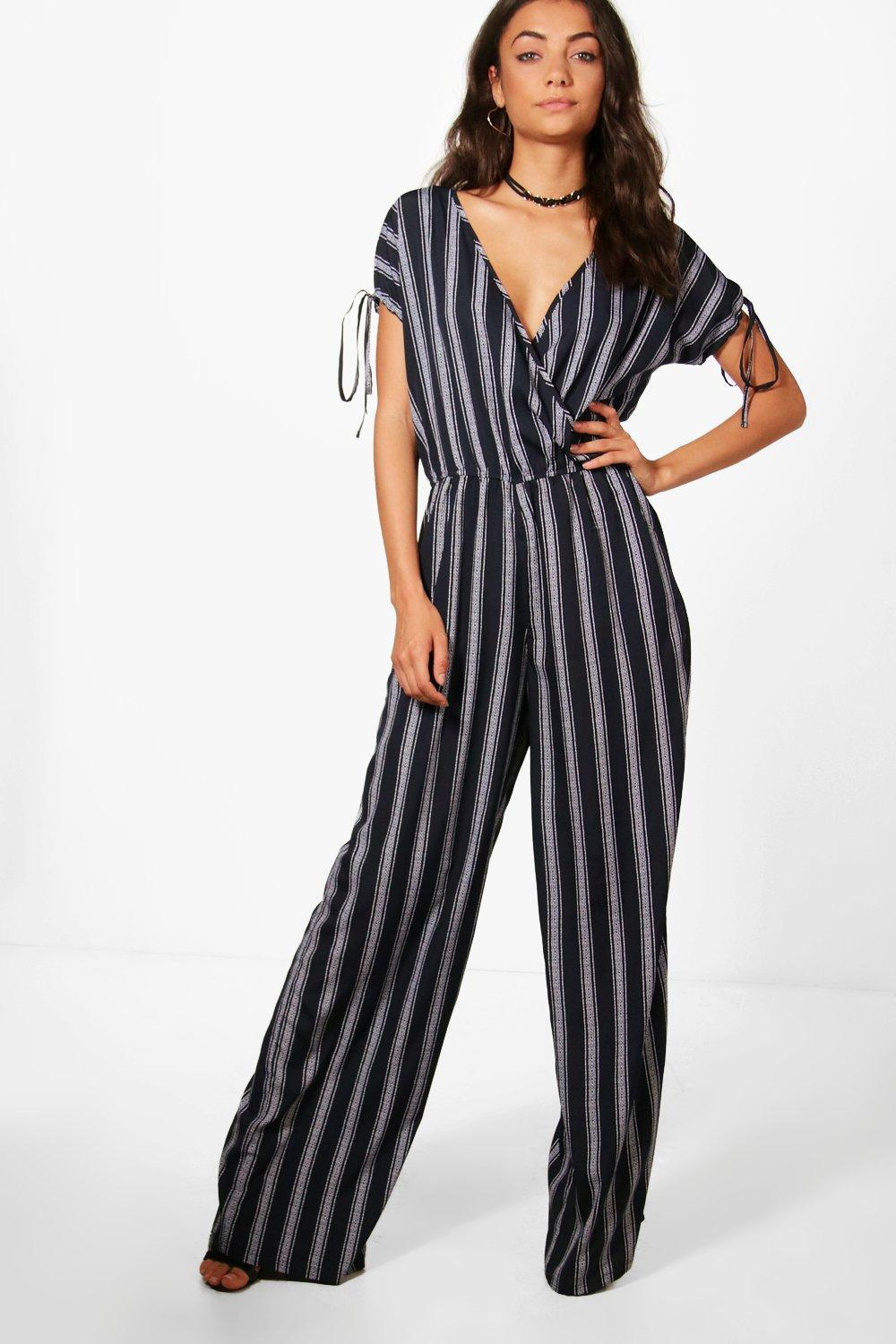 0c87b1c6d96 Boohoo Tall Wrap Front Wide Leg Jumpsuit in Blue - Lyst