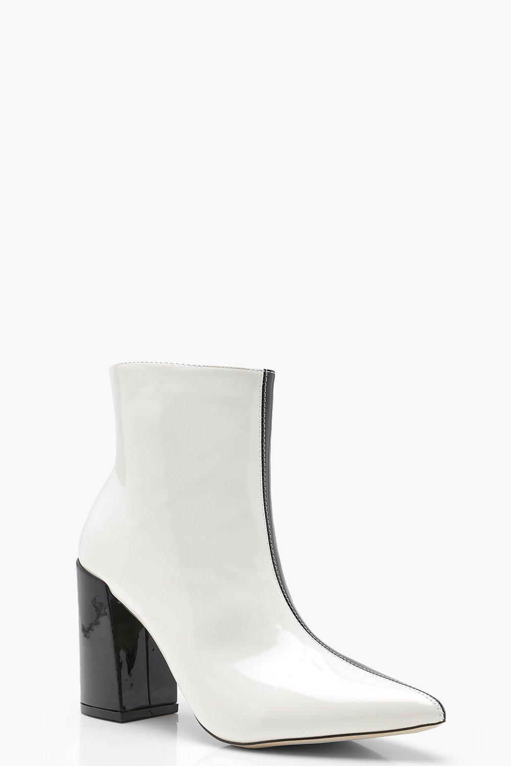 b335677710 Boohoo Contrast Block Heel Ankle Boots in White - Lyst