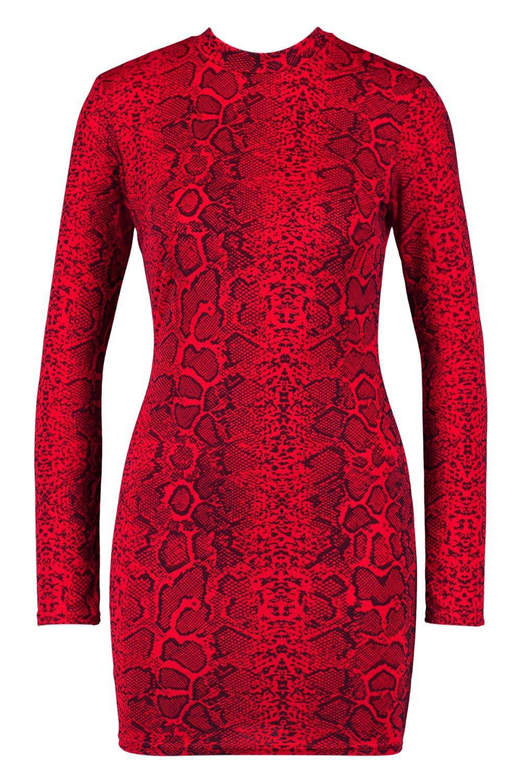 1ceb5fbbccef5 Boohoo - Red Snake Print Roll Neck Mini Dress - Lyst. View fullscreen