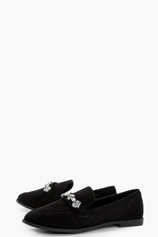 69ad78f171b Lyst - Boohoo Jenny Embellished Trim Loafer in Black