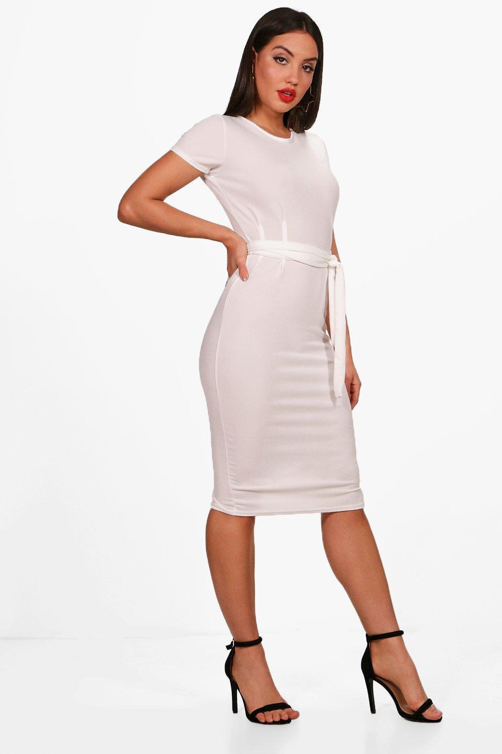 a264baa562f8 Lyst - Boohoo Pleat Front Belted Tailored Midi Dress in White