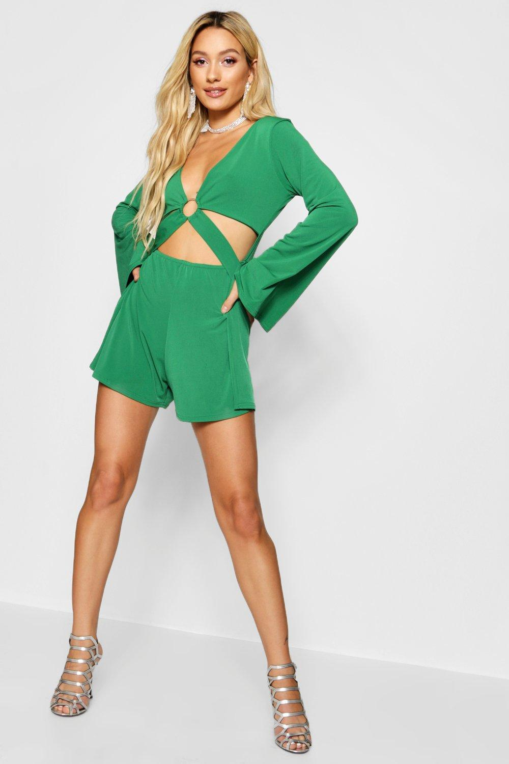 42a8115c5f Lyst - Boohoo Cut Front Ring Detail Playsuit in Green