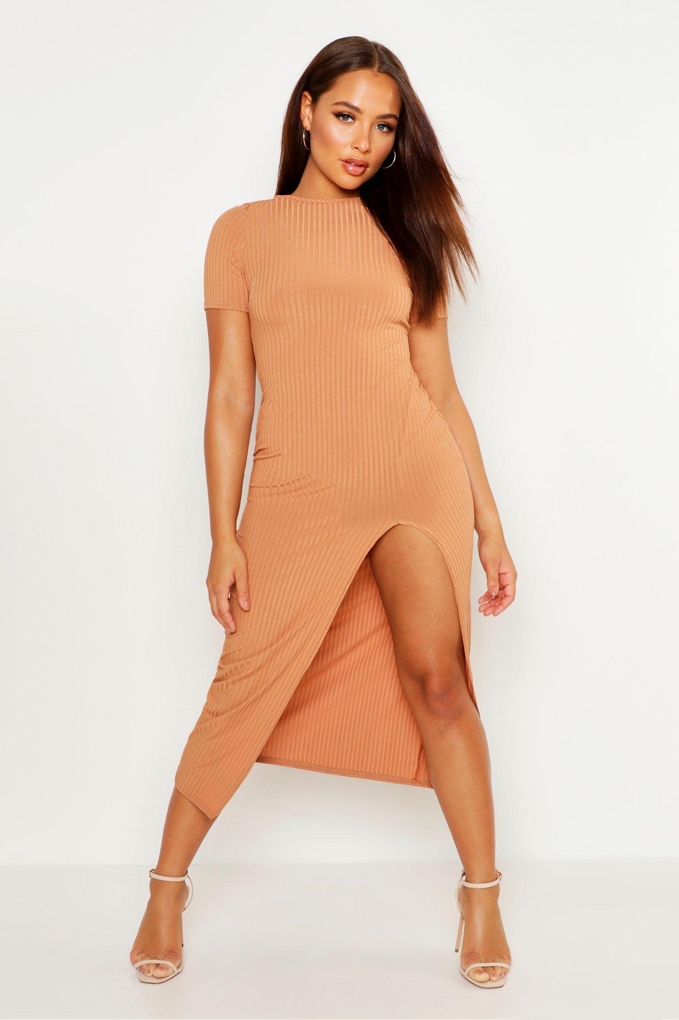 a69d29b349b4 Boohoo Jumbo Rib Split Side Midi Dress in Orange - Lyst