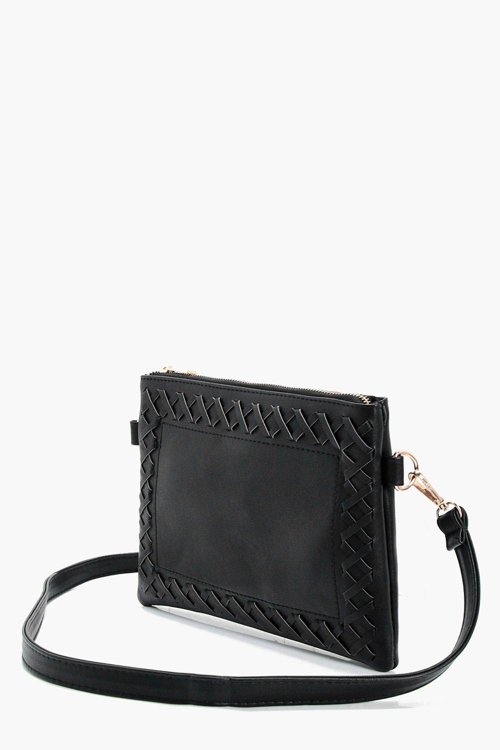 Lyst - Boohoo Laura Whipstitch   Tassel Cross Body Bag in Black 8b871f78cbc8d