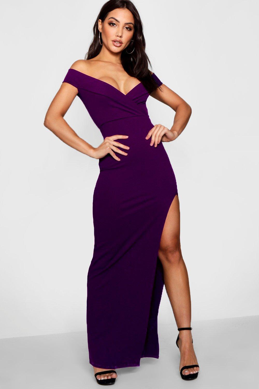 4eaac15c0cbd Boohoo - Purple Wrap Top Off Shoulder Maxi Dress - Lyst. View fullscreen