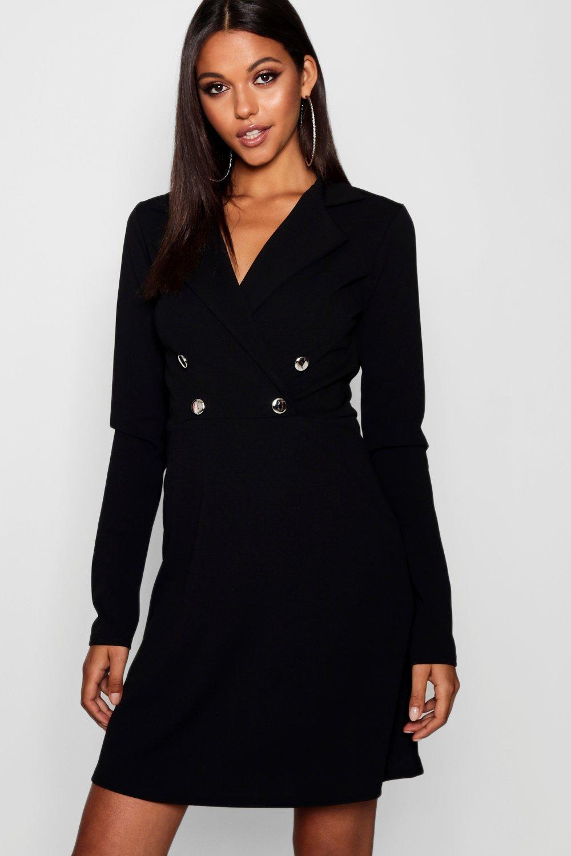 4a83ca4dc52d9 Boohoo Tall Military Blazer Dress in Black - Lyst