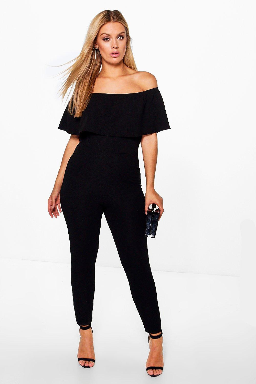 0d84a2ea0d7 Boohoo Plus Off The Shoulder Ruffle Jumpsuit in Black - Lyst