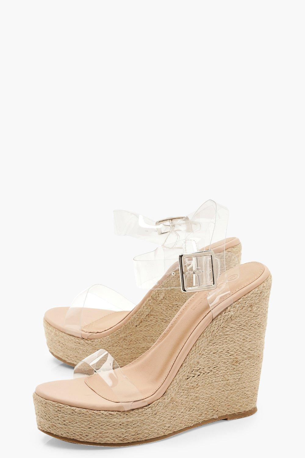 915d9faa391 Boohoo - Multicolor Clear Strap Espadrille Wedges - Lyst. View fullscreen