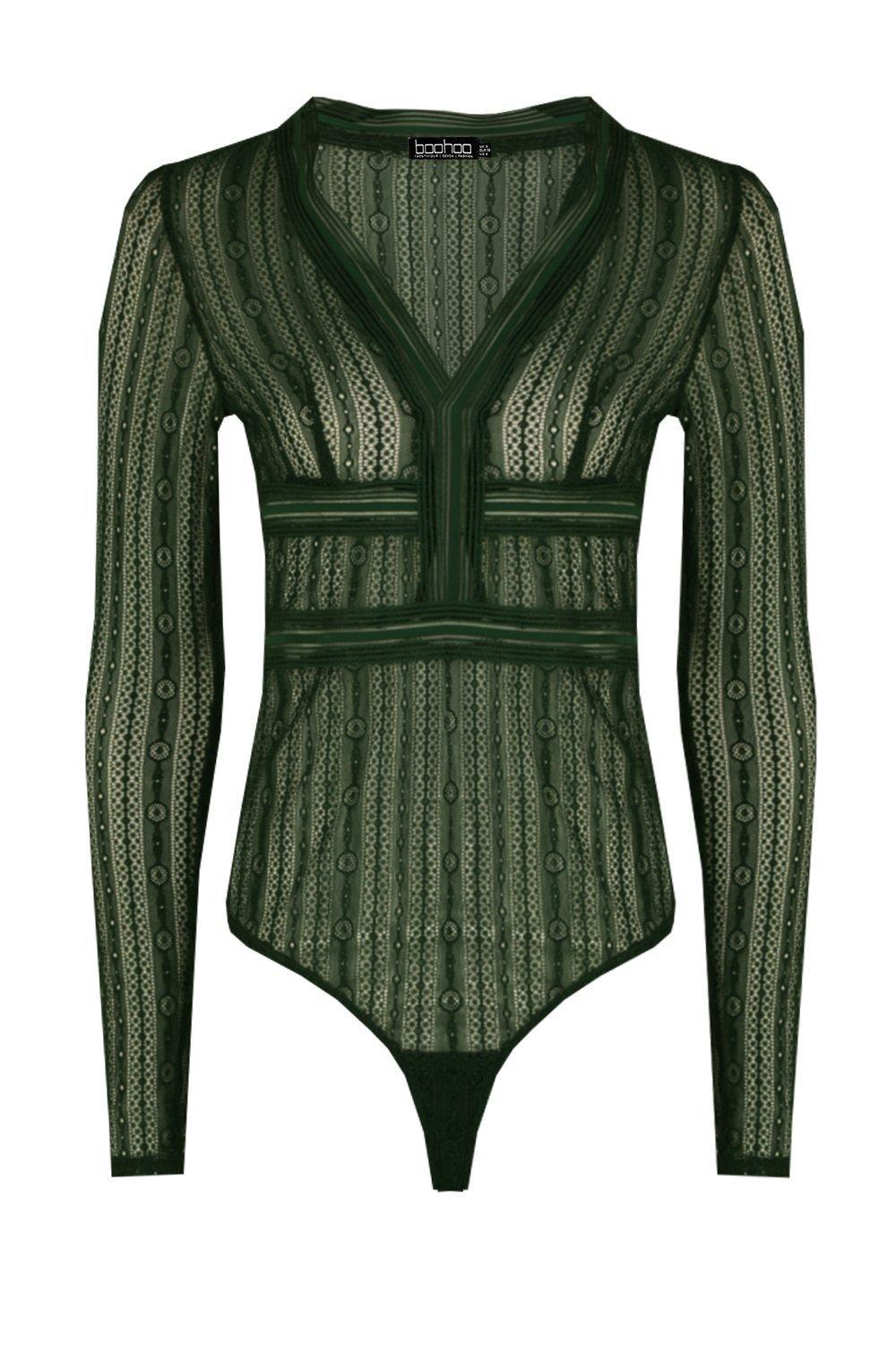 c25bc7d9430a Lyst - Boohoo Vera Long Sleeve Lace Plunge Bodysuit in Green