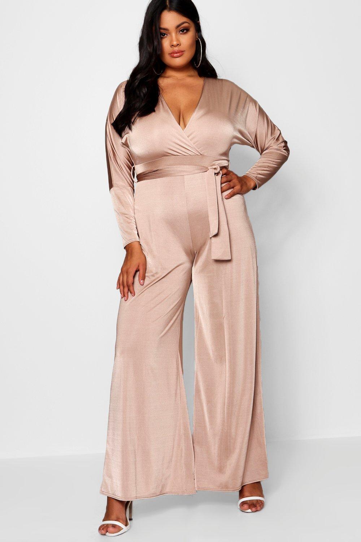 79300db25d19 Lyst - Boohoo Plus Lois Slinky Wrap Tie Jumpsuit in Pink