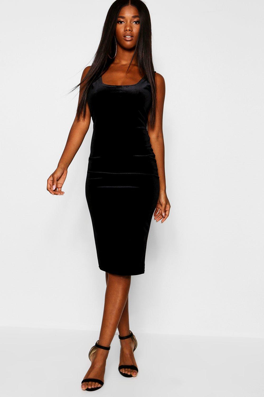 790907e54c1 Boohoo Velvet Scoop Neck Bodycon Midi Dress in Black - Lyst