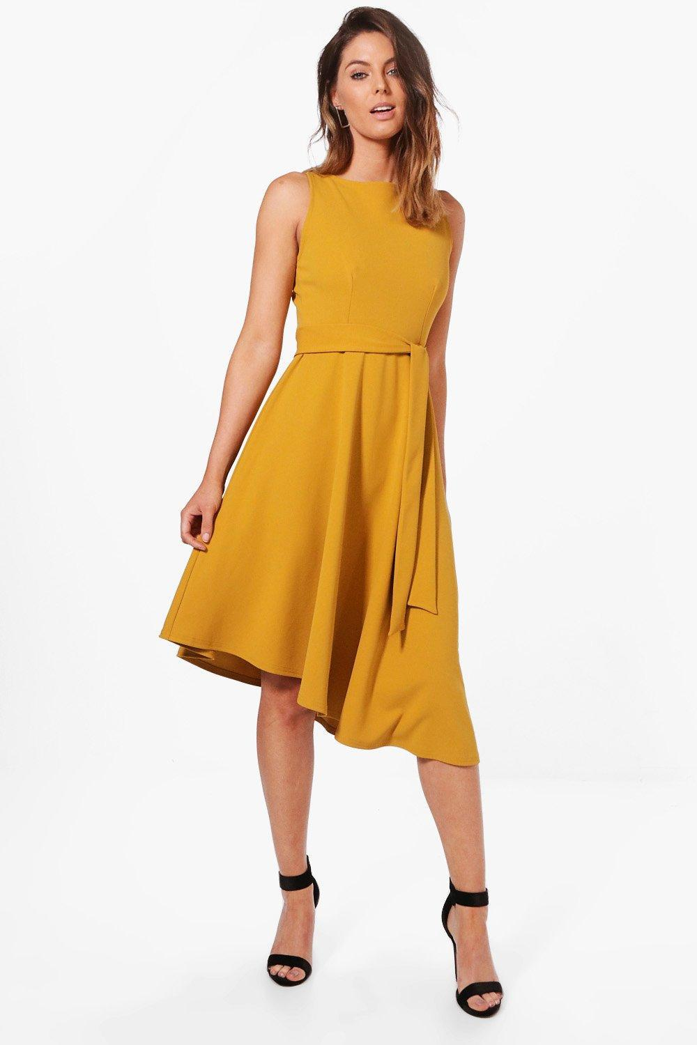 c2977c5a86 Lyst - Boohoo Poppy Asymetric Formail Midi Skater Dress in Yellow