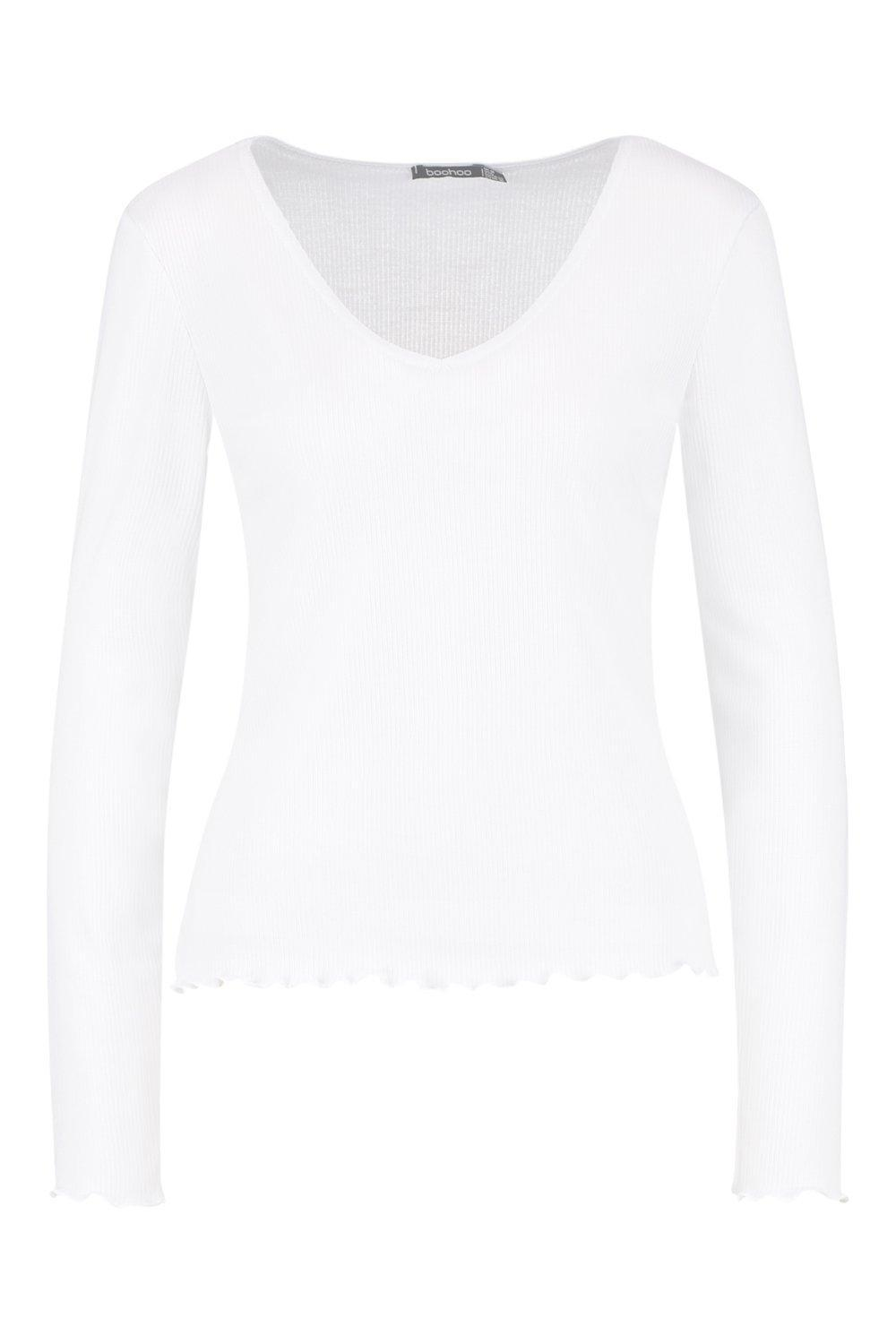 220fe7a689b0e8 Lyst - Boohoo Long Sleeve V Neck Lettuce Hem Top in White