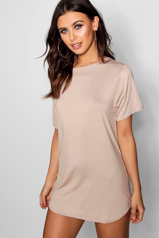 Curved T Dress Lyst Boohoo Petite Hem in shirt Natural RL3jc5Aq4