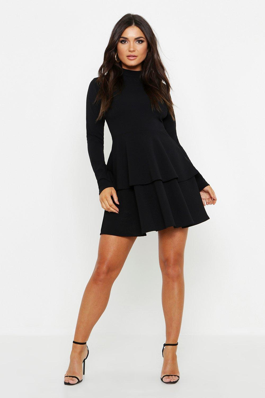 185ac3307efe Lyst - Boohoo Crepe Long Sleeve Tiered Skater Dress in Black