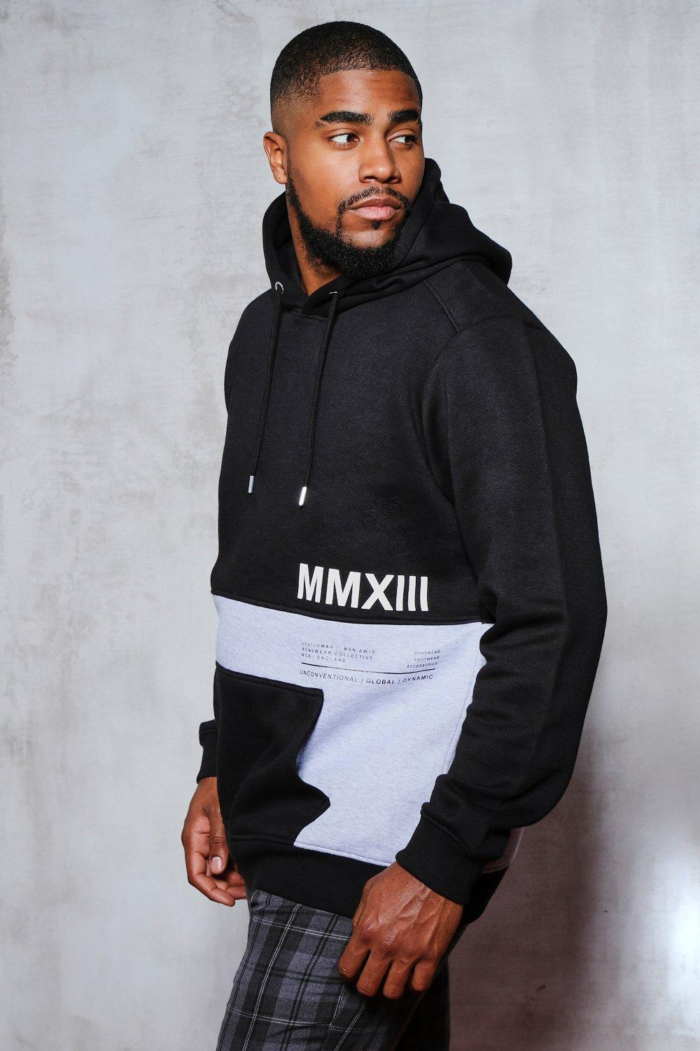 7efc9cea7be0 Boohoo Big And Tall Colour Block Printed Hoodie in Black for Men ...