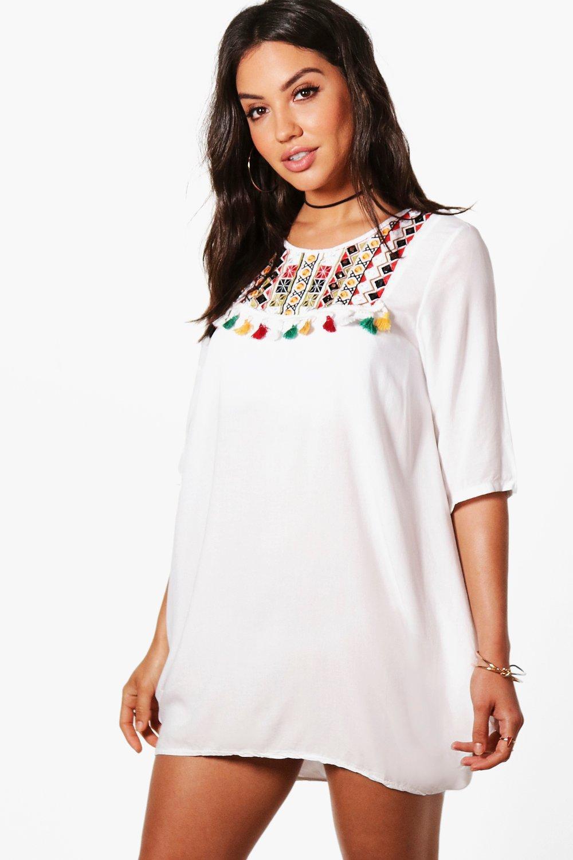 6b0edbe47b9f Boohoo Aleena Embroidered Pom Pom Trim Beach Cover Up Dress in White ...
