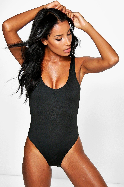 554e03e0fc3 Lyst - Boohoo Scoop Back Swimsuit in Black