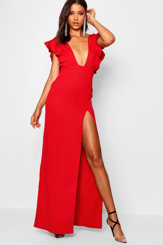Lyst - Boohoo Tall Ruffle Plunge Split Leg Maxi Dress in Red - Save 8% 999377d0f
