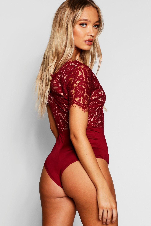 6186421657 Lyst - Boohoo Premium Eyelash Lace Bodysuit in Red