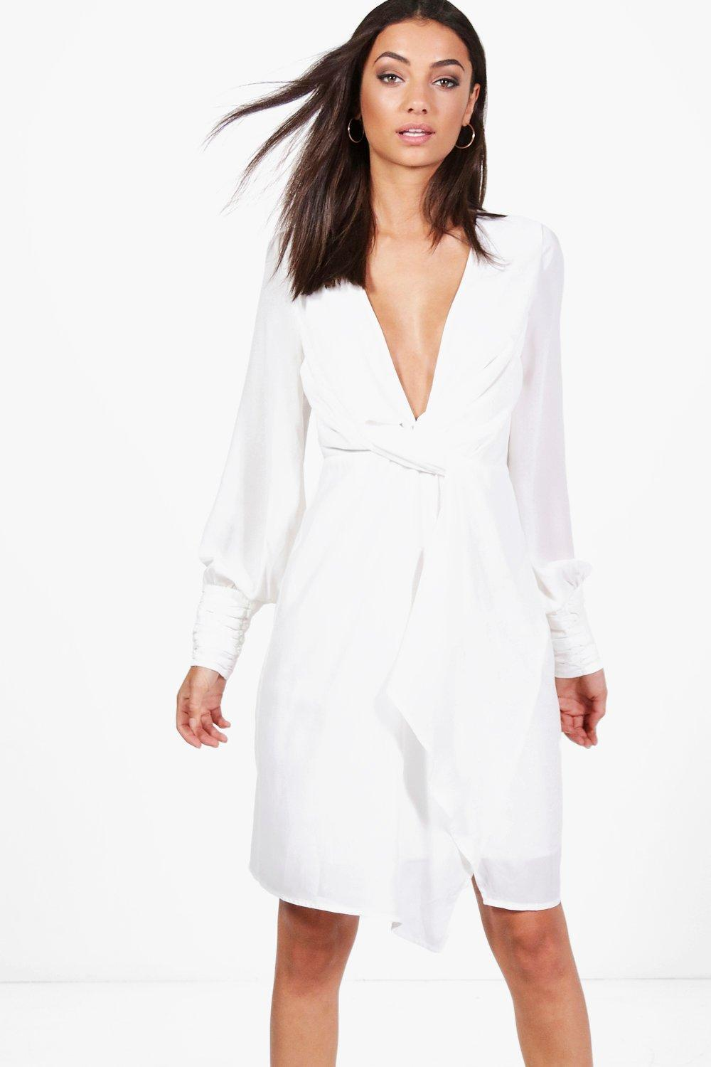 c05f62934df Lyst - Boohoo Tall Una Split Sleeve Twist Front Dress in White