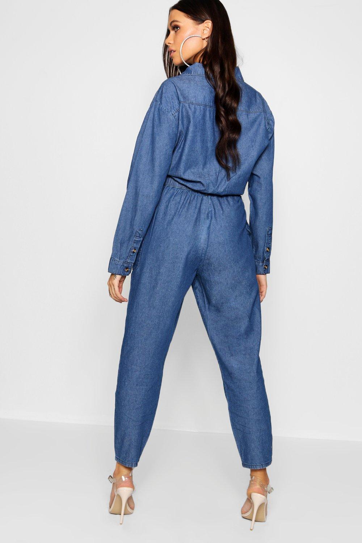 9480692fd064 Lyst - Boohoo Horn Button Pocket Denim Boiler Suit in Blue