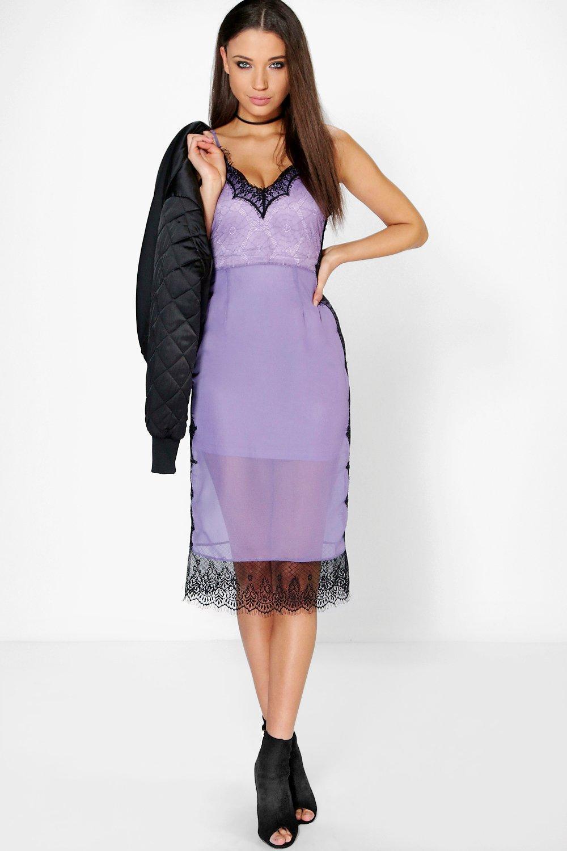 Boohoo Boutique Lia Eyelash Lace + Chiffon Midi Dress in Purple - Lyst a72429f1f