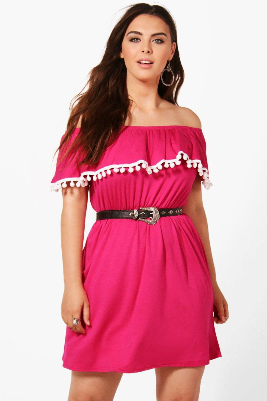 1473cc12268a Boohoo Plus Zoe Off The Shoulder Pom Pom Trim Dress in Pink - Lyst