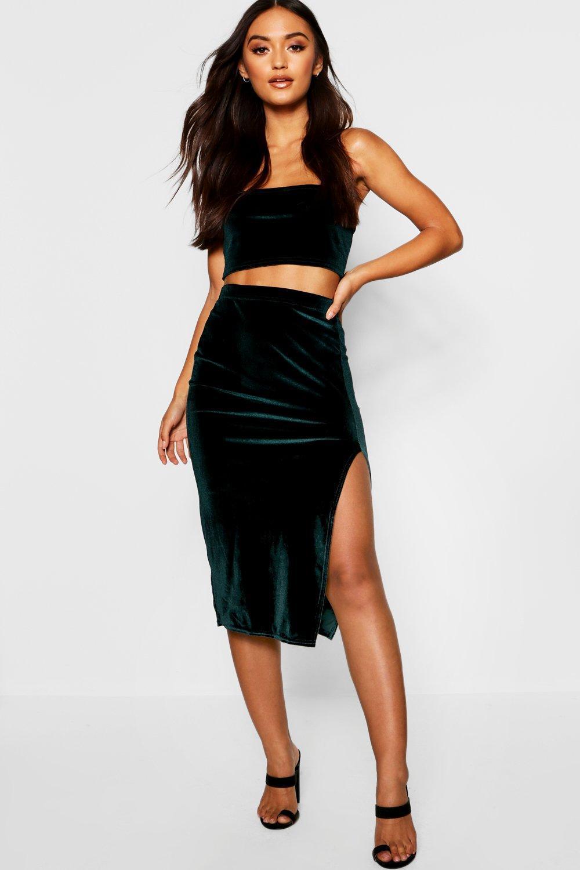 524541099 Boohoo Petite Velvet Midi Skirt in Black - Lyst