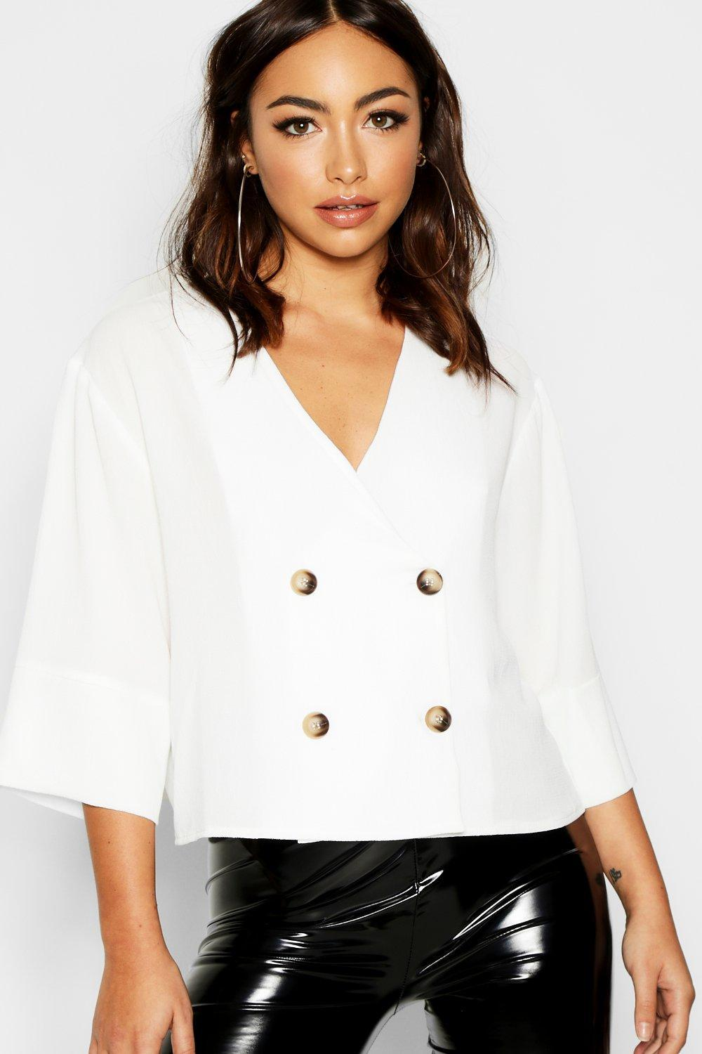 6fabb9fa Lyst - Boohoo Tortoise Shell Double Breasted Shirt in White