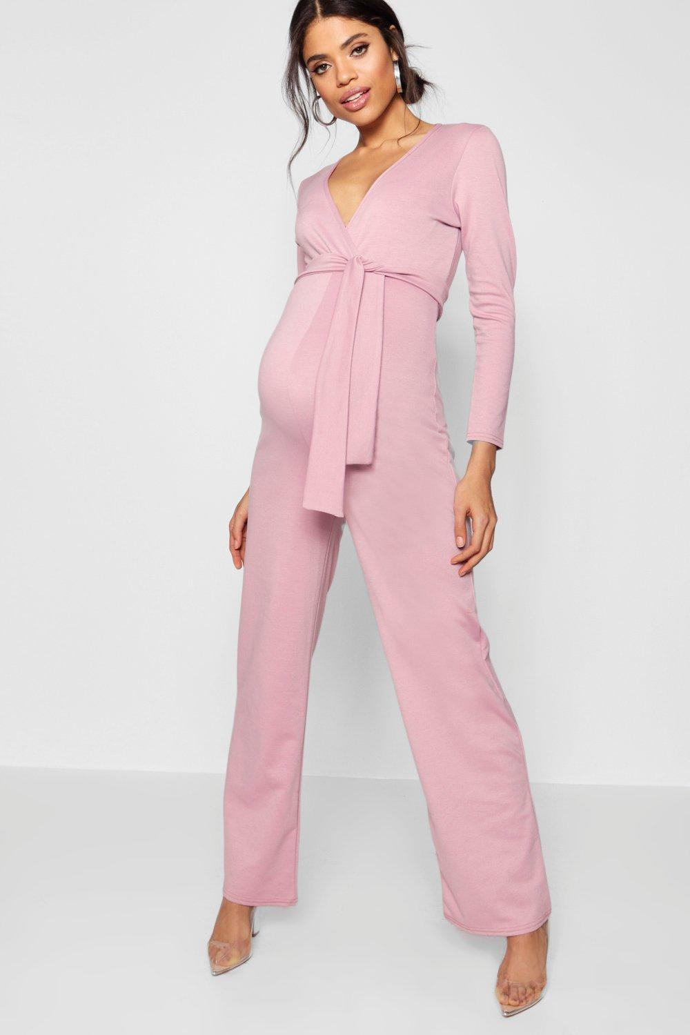 choose authentic most desirable fashion top-rated authentic Boohoo Maternity Tie Front Plunge Jumpsuit in Desert Rose ...