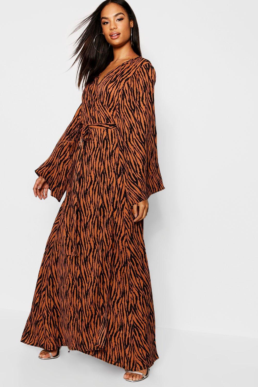 4695d3ad8aac4 Boohoo Tall Tiger Print Wrap Dress in Brown - Lyst