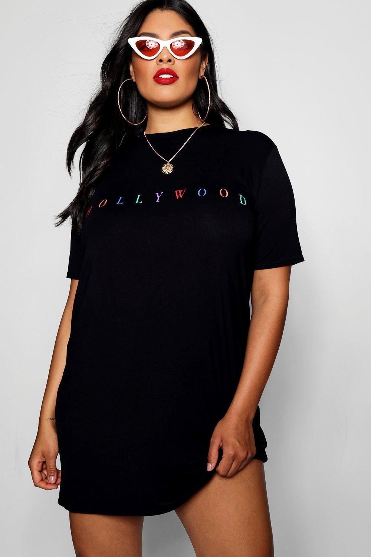 1e9bde38a3 Lyst - Boohoo Plus Rose Rainbow Slogan Oversized T-shirt Dress in Black