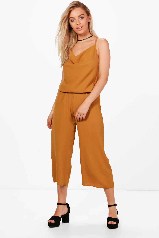 eb5d1dc824e4 Boohoo Lara Cowl Neck Culotte Jumpsuit - Lyst