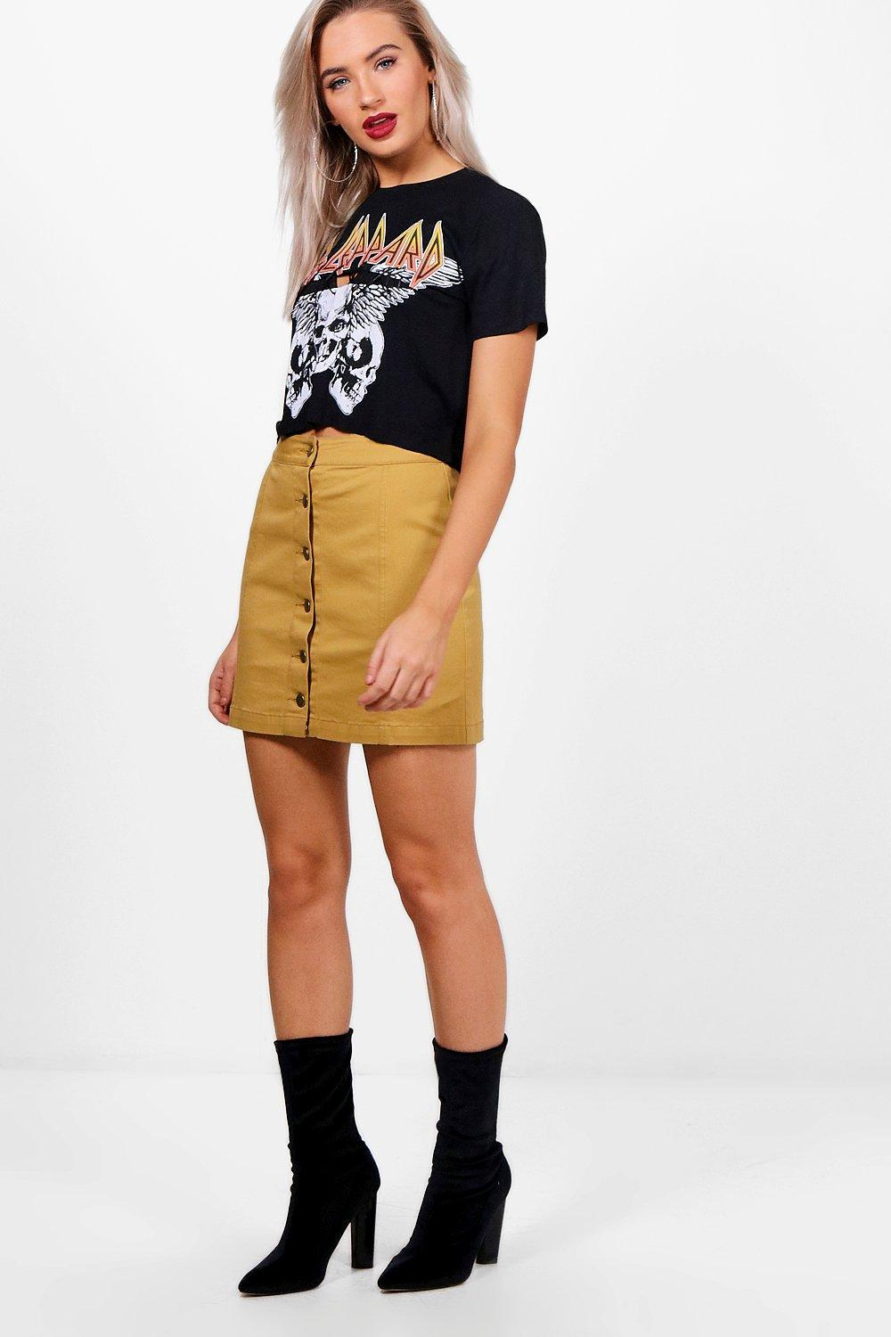 Boohoo Mustard Denim Mini Skirt Where To Buy Cheap Real Buy Cheap For Nice Perfect For Sale duAUI
