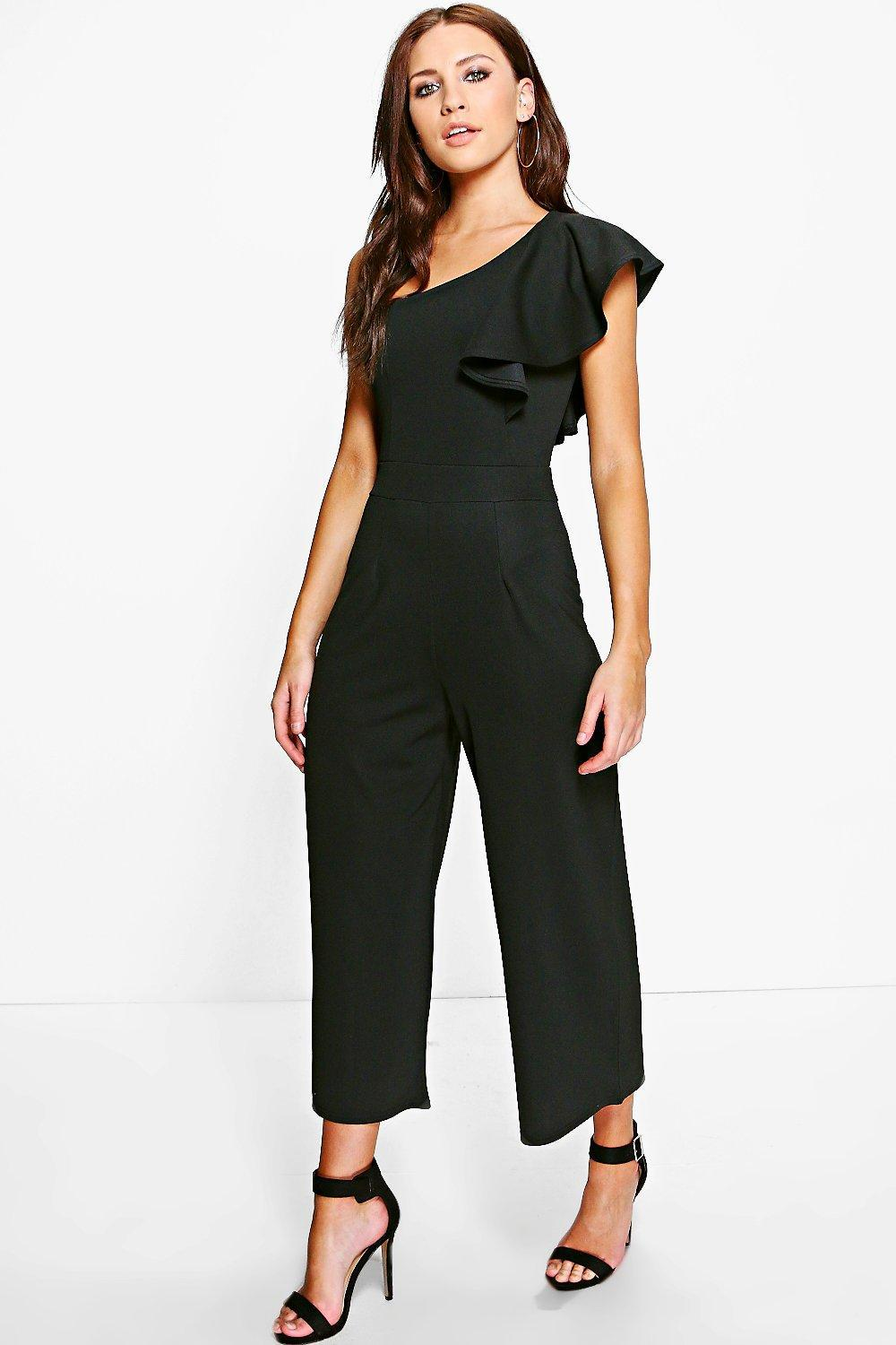 Boohoo Lyst In Jumpsuit Amy One Black Shoulder Frill 7Cwq7z0rx