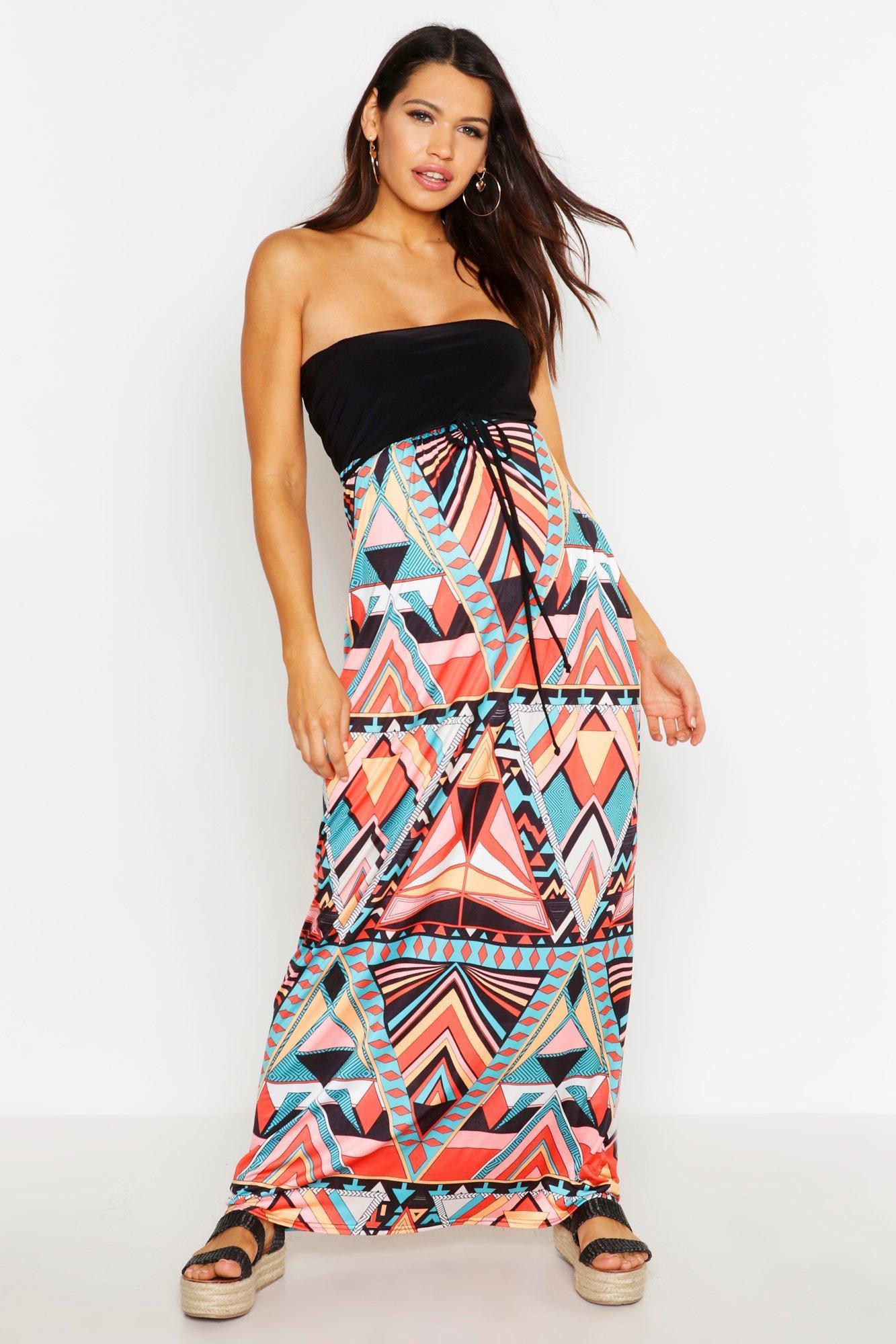 815be02c40cd1 Boohoo - Multicolor Maternity Aztec Bandeau Maxi Dress - Lyst. View  fullscreen