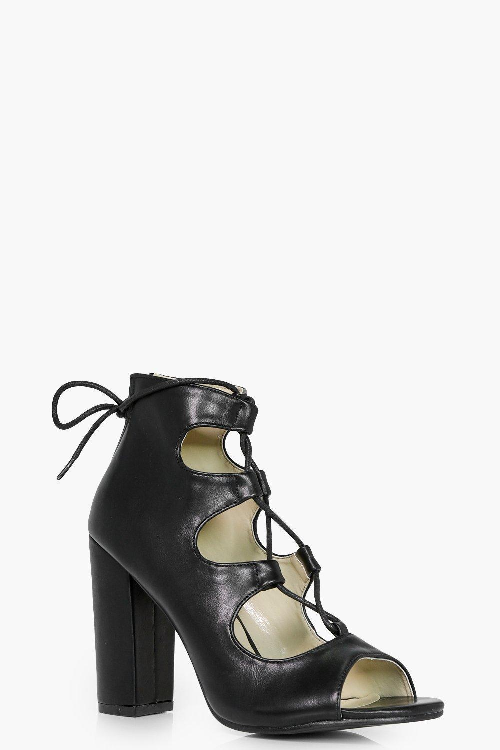 84ce51bf47cf3 Boohoo Ghillie Lace Up Block Heels in Black - Lyst