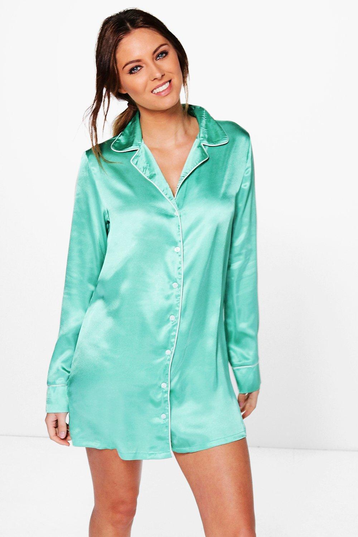 bb3a755c0a9 Lyst - Boohoo Isabella Satin Night Shirt Dress in Green