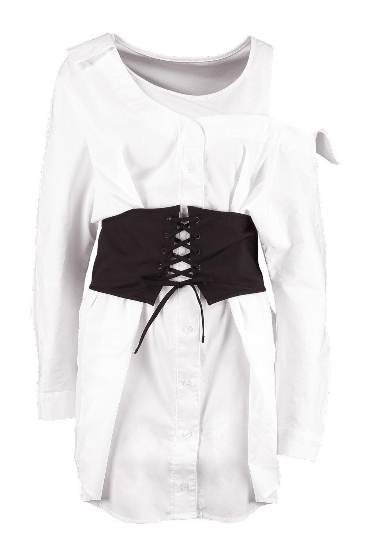 b2305f7446 Lyst - Boohoo Off The Shoulder Corset Belt Shirt Dress in White