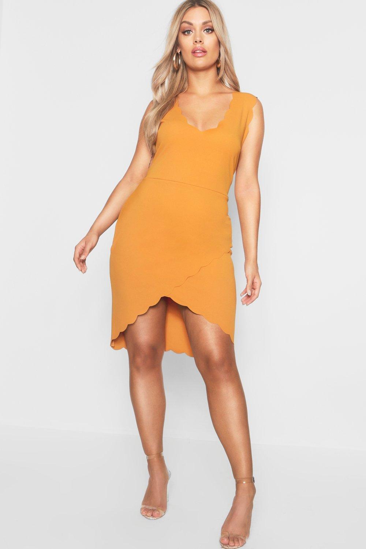 552ddc3562df Boohoo Plus Scallop Edge Wrap Mini Dress in Orange - Lyst