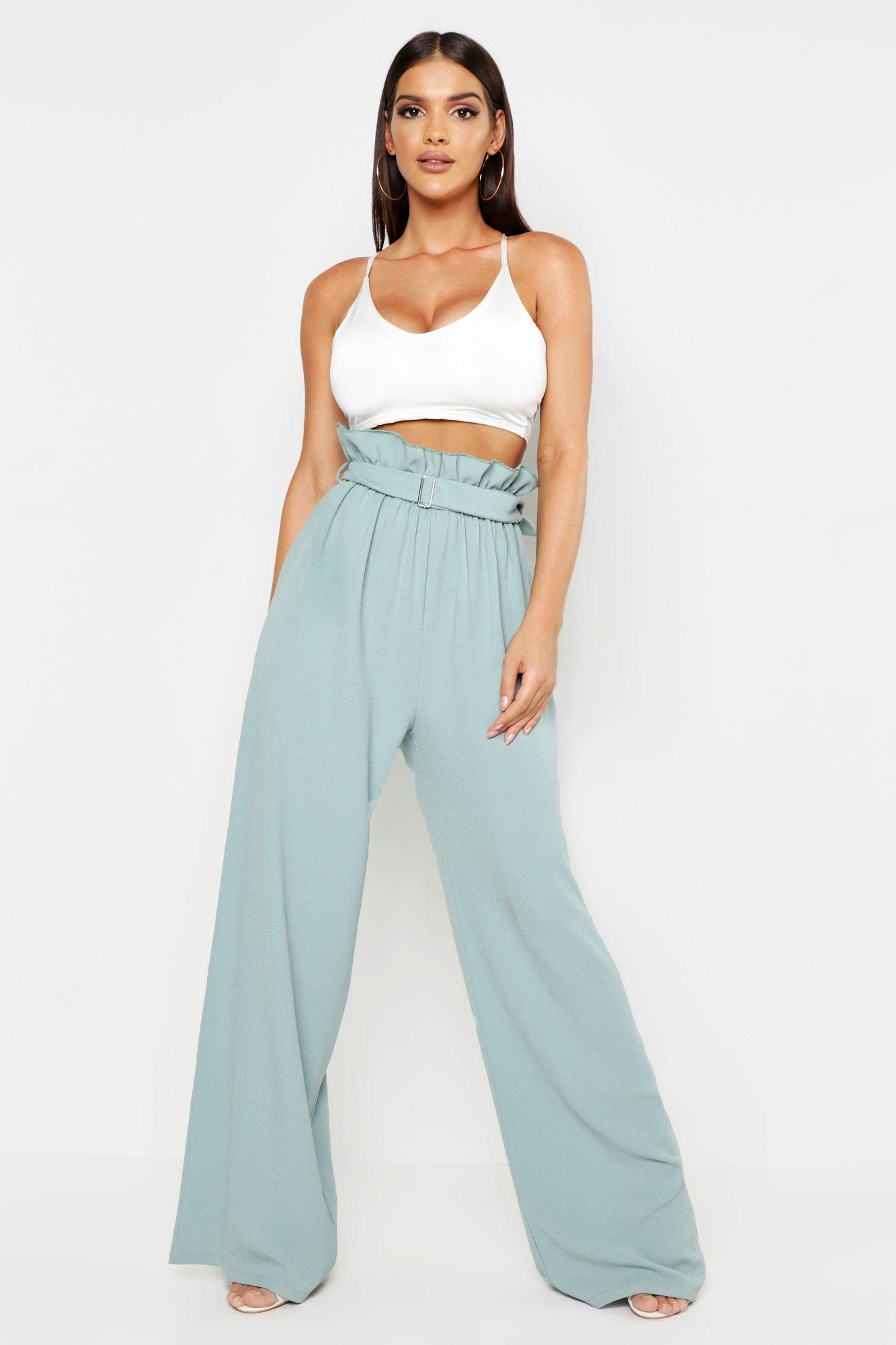 8805b82f44b3 Lyst - Boohoo Belted Paperbag Wide Leg Trousers in Blue