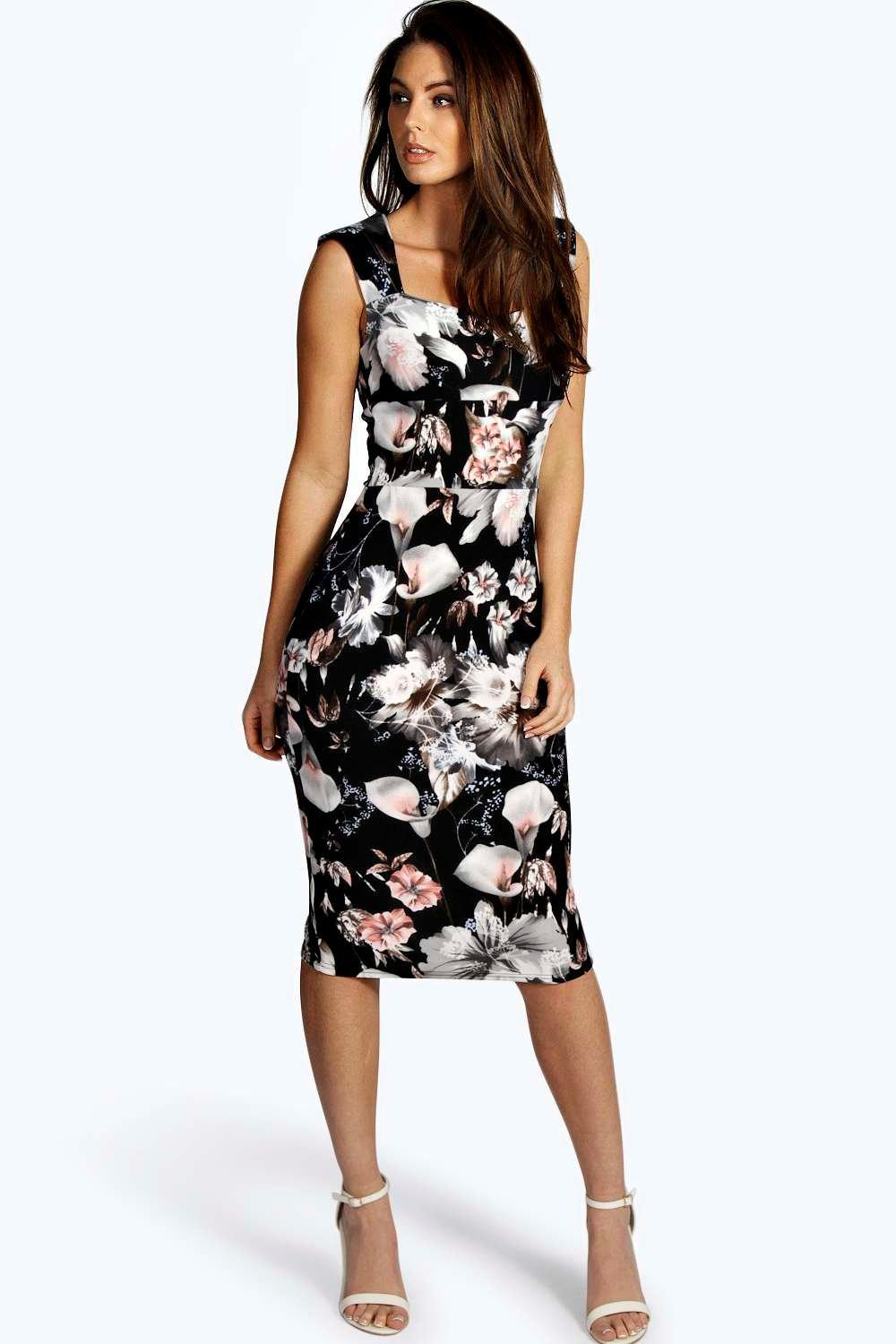 a6c6019c7461 Boohoo Ivy Floral Print Sweetheart Midi Bodycon Dress in Black - Lyst